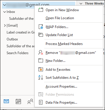 Remove Account from Outlook