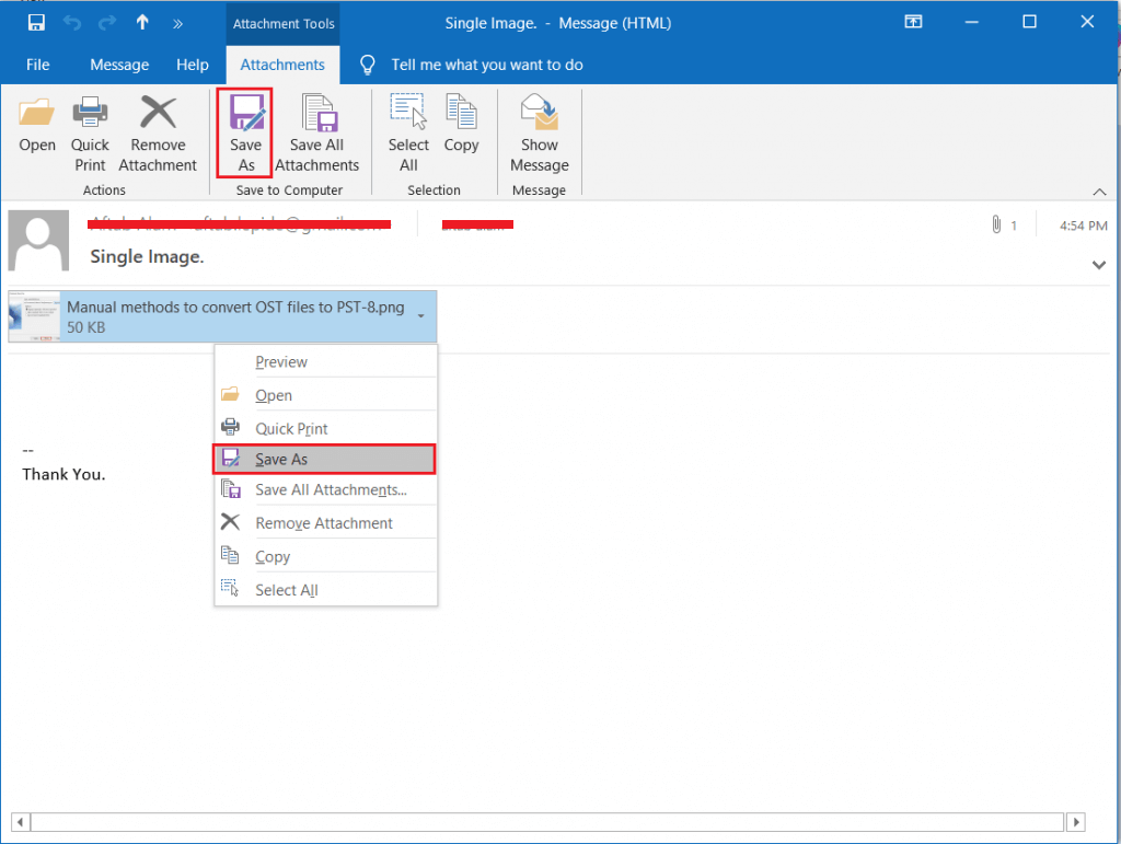 Save Outlook Email
