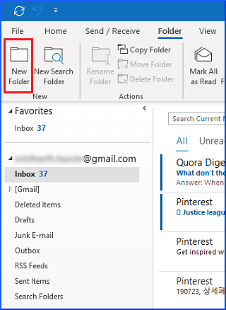 Outlook 2010 IMAP Account Folder