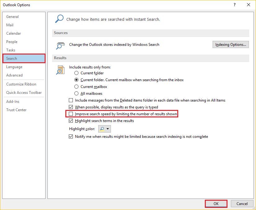 Increase Outlook Search Results