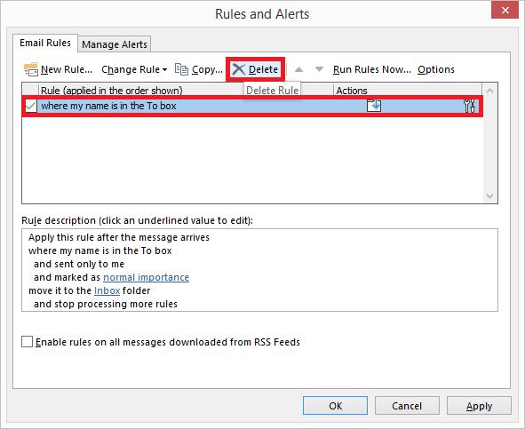Delete - Outlook Rules Do Not Work