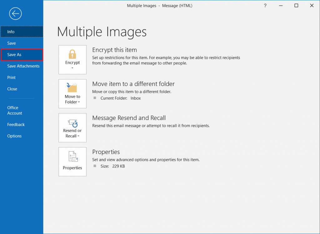 Save as Outlook Images