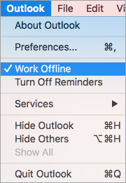 Work Offline for Solve Mac Outlook Not Syncing with Exchange Server