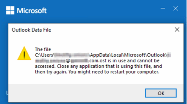 OST File Will Not Open in Outlook 2016, 2019