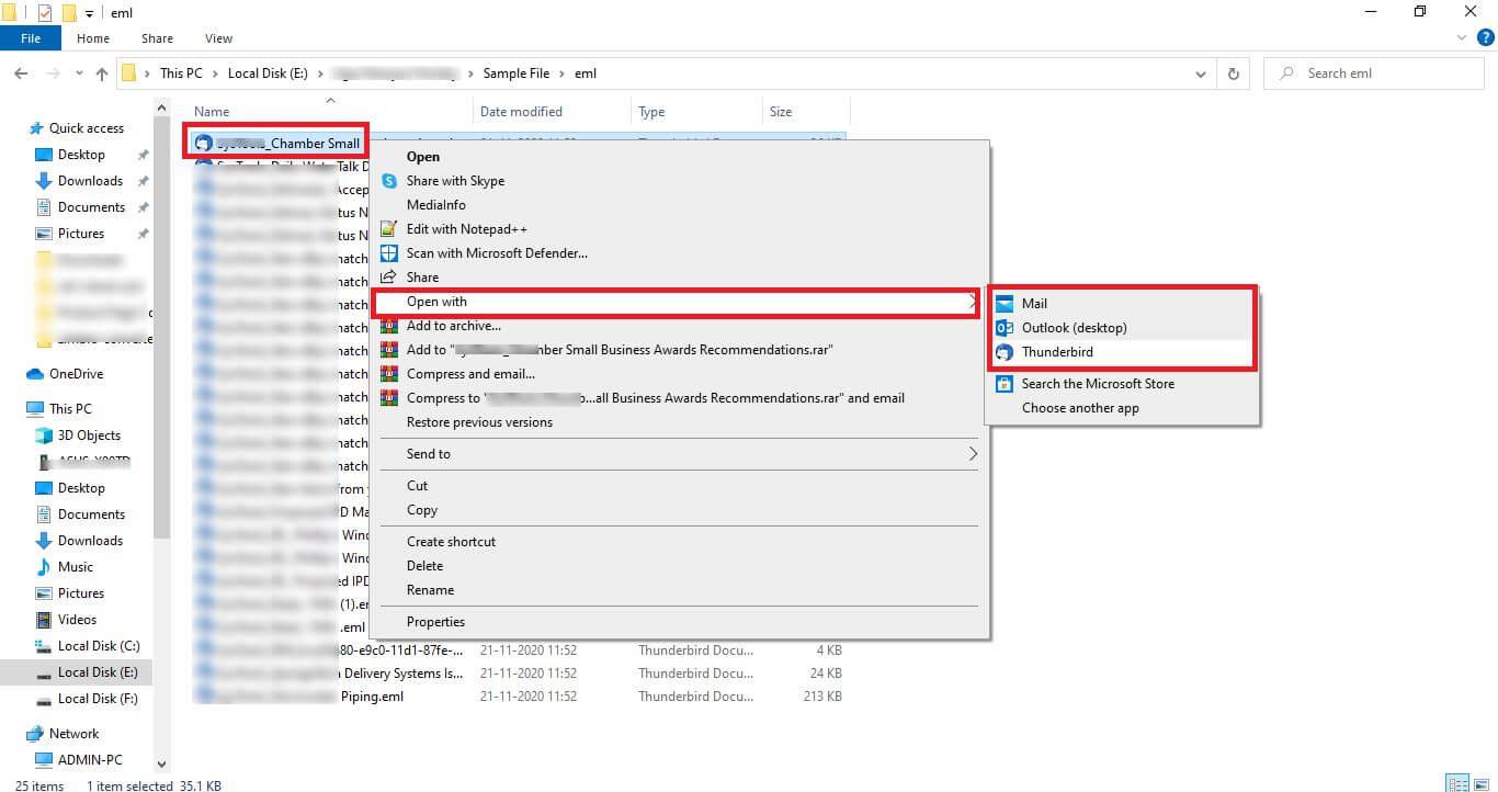 Abrir archivos EML con clientes de correo electrónico