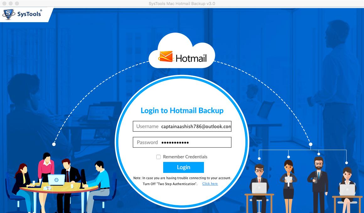 Login to Backup Hotmail Mailbox