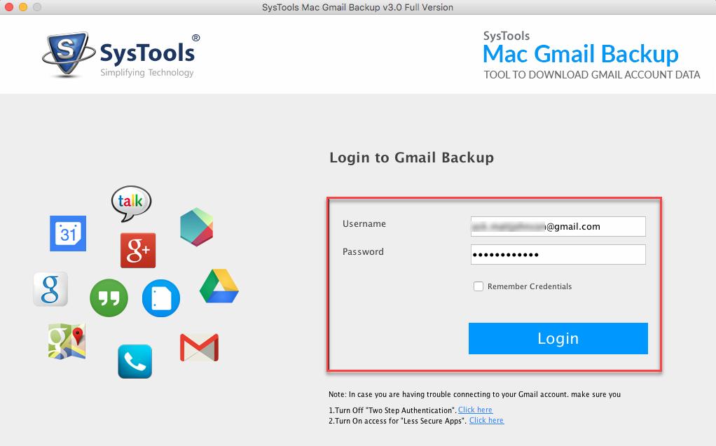 Login to Backup Gmail Mailbox