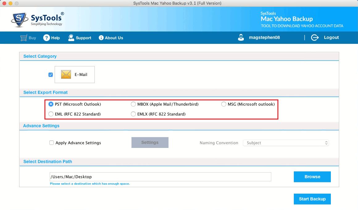 Select backup format