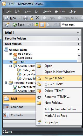 New inbox folder