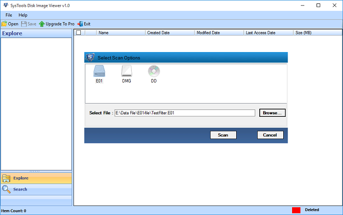 Scan and View Disk Image Files