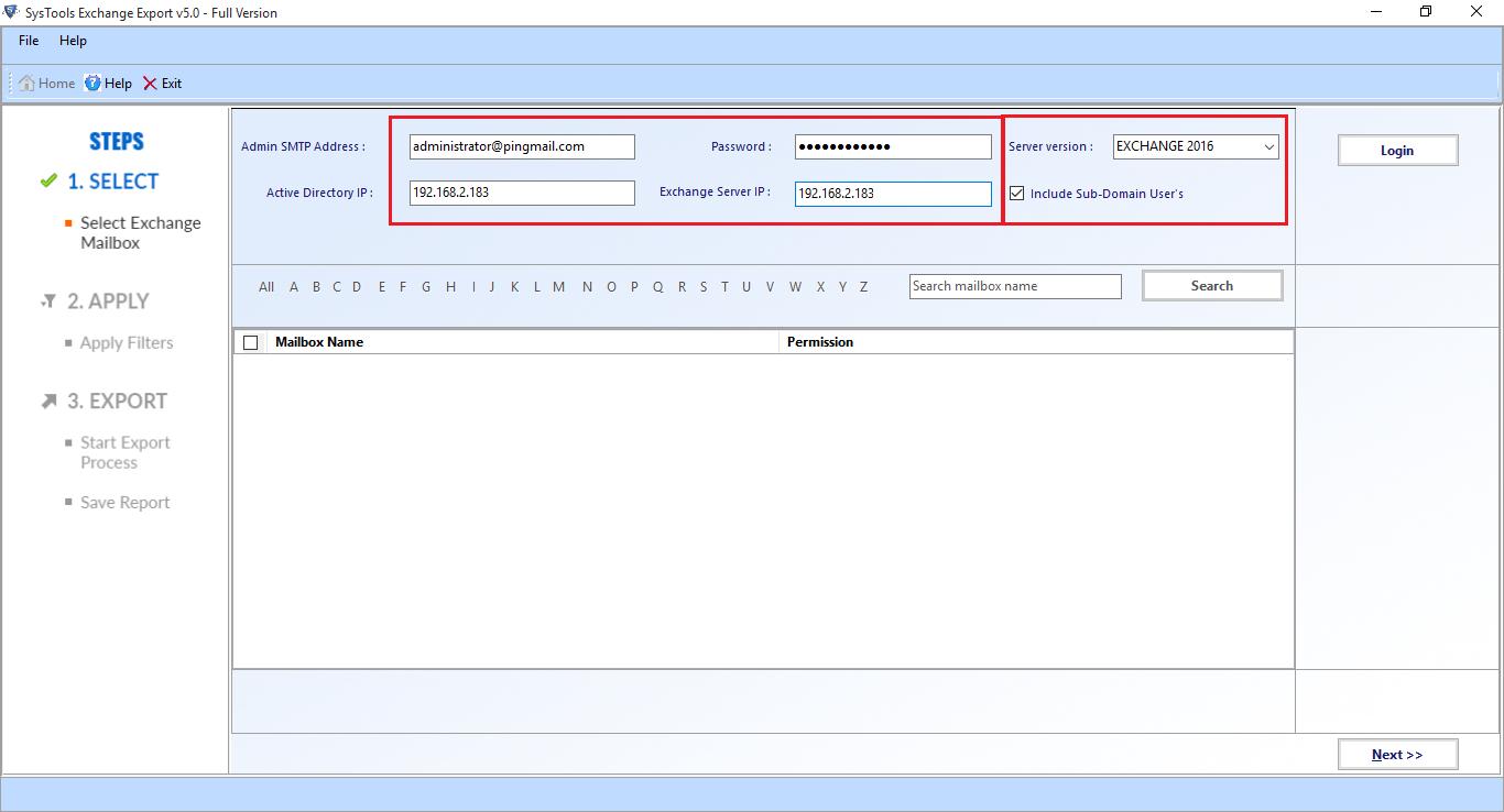 Initial Software Screen