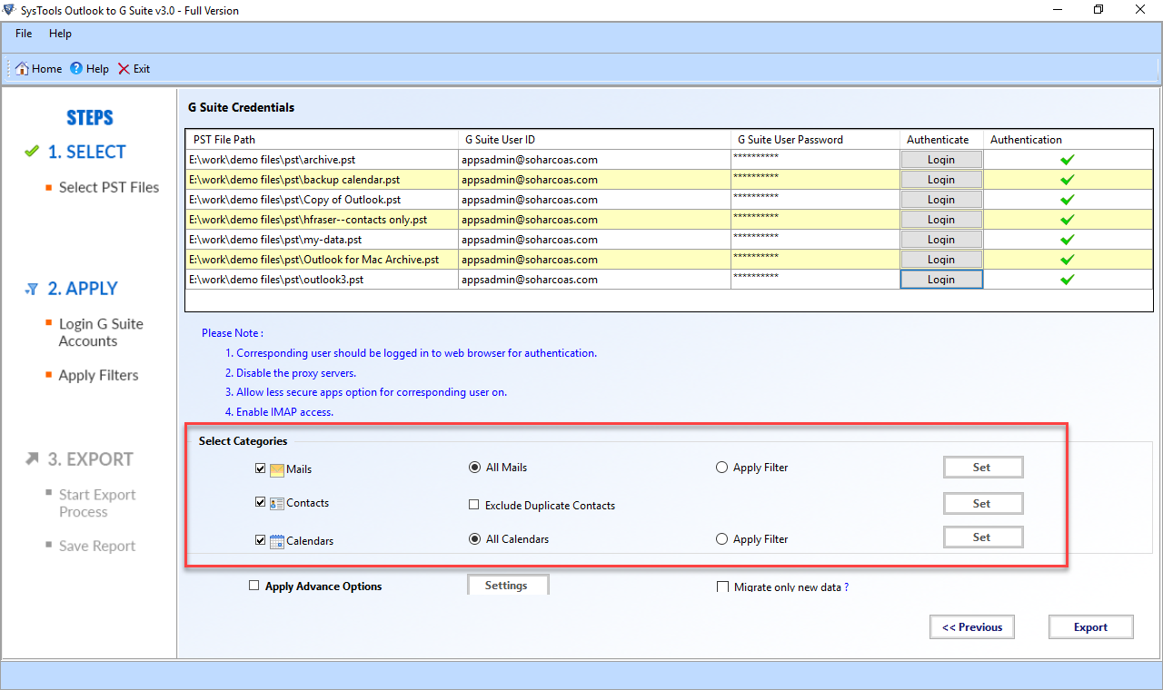 Validate Google Apps account