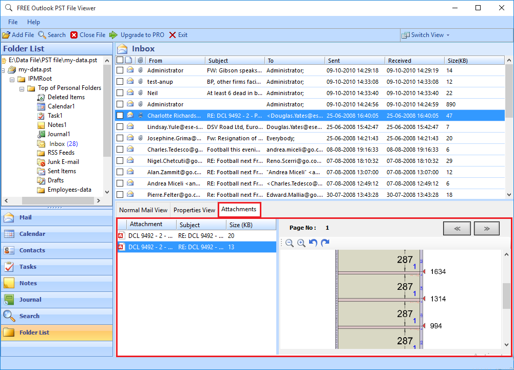 7. view Google Vault exports PST file