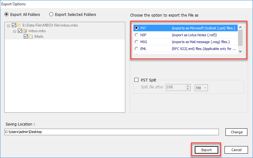 Export MBOX to Outlook PST