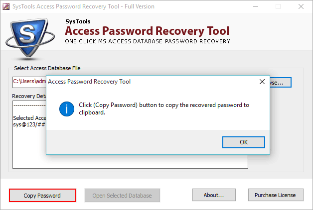 copy recovered MDN file password