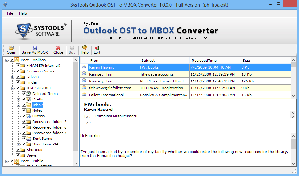 Save OST to Thunderbird MBOX Format
