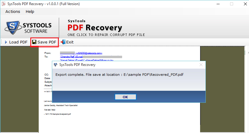 PDF Recovey Process Completed