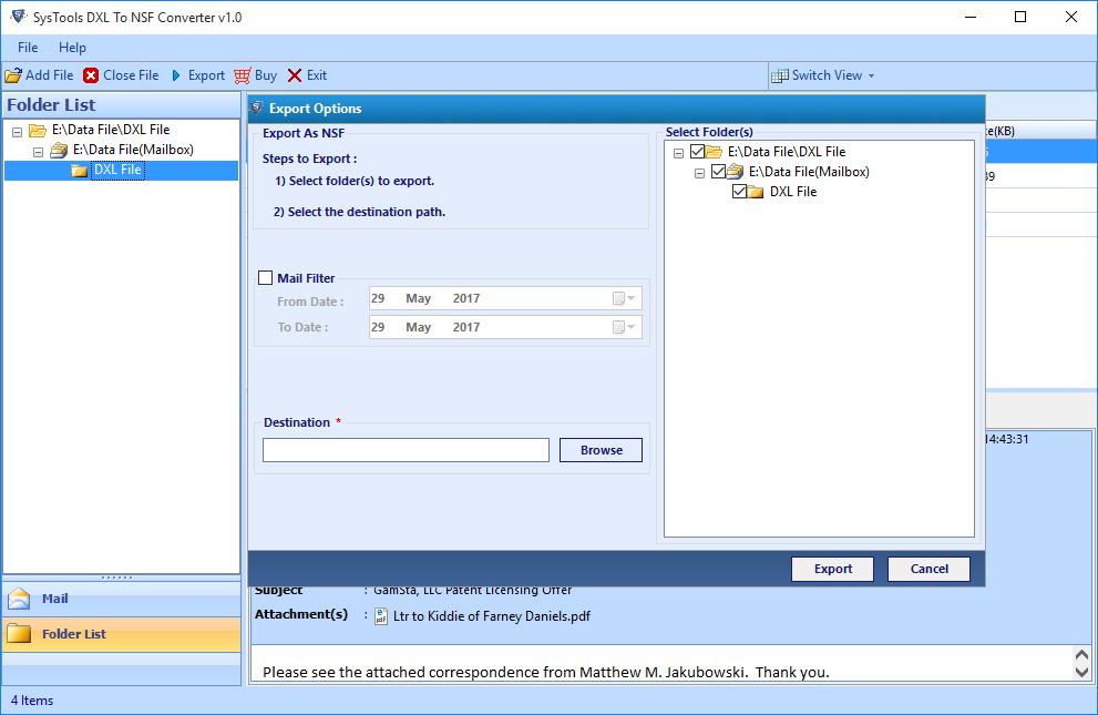 Export DXL File