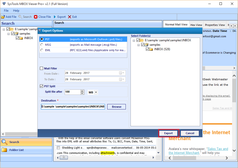 Export MBOX Files into Multiple Formats