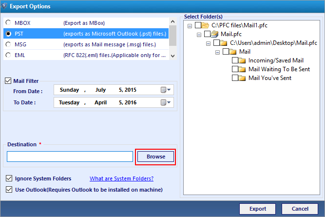 convert AOL emails to pst