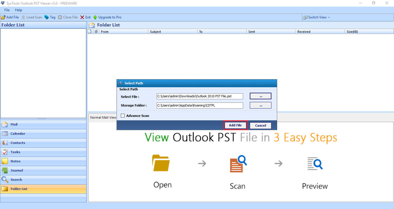 Browse Outlook PST File