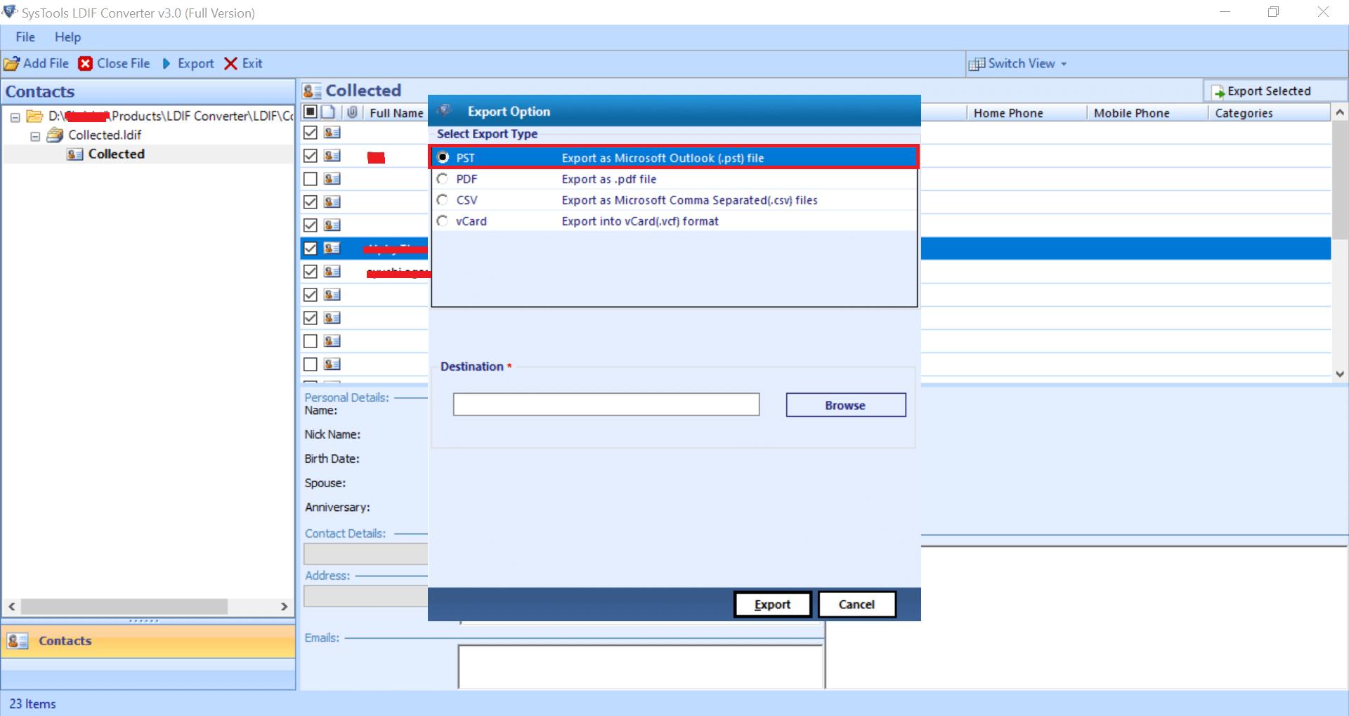 Save LDIF contact file